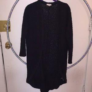 silence + noise long black open front cardigan